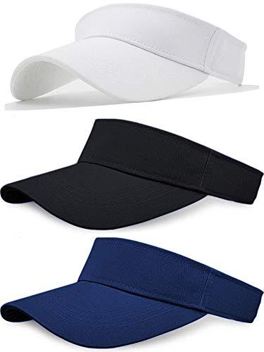Sikuer Sun Visor, Adjustable Visor Hat, Cotton Outdoor Sport Beach Golf Visor Cap for Women Men 3 Color Packed adjustable