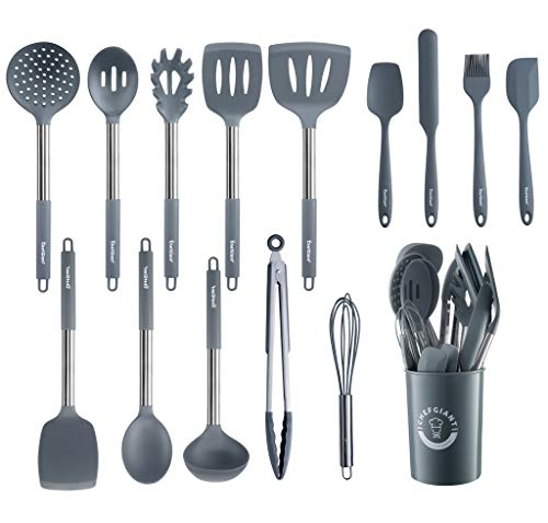 ChefGiant Silicone Kitchen Utensil Set | 15-Piece Stainless Steel Cooking Tool Kit with Holder, Spatula, Ladle, Pasta Server, Tongs, Whisk & More | Heat Resistant, BPA Free, Dishwasher Safe | Grey