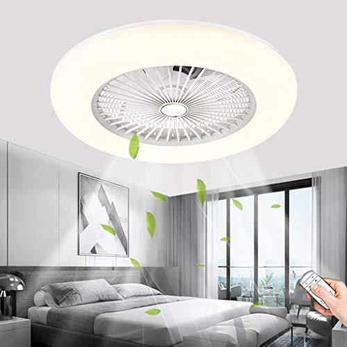 Ventilador De Techo Moderno LED 80W Atenuación De Luz De Techo Con Control Remoto Lámpara De Ventilador Nórdico Invisibles Dormitorio Restaurante Sala De Niños Sala De Estar Lámpara De Techo (White)