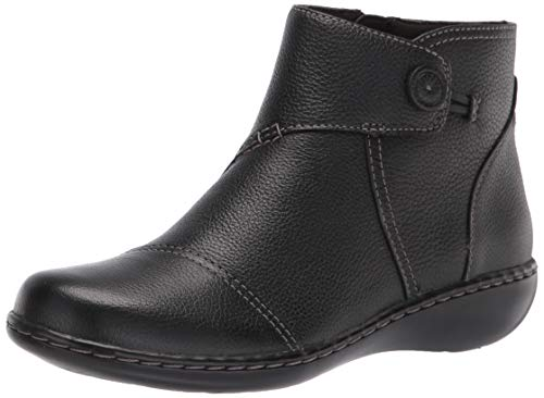 Clarks Women's Ashland Holly Ankle Boot, Black Leather, 9M