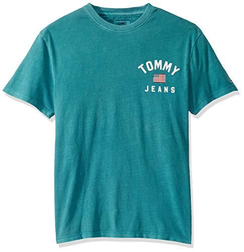 Tommy Hilfiger Men's American Flag T Shirt, Atlantic DEEP, XL