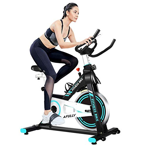 Afully Indoor Exercise Bike, Indoor Cycling Stationary Bike Belt Drive with Adjustable Resistance, LCD Monitor, Pad/Phone Holder, Comfortable Cushion, Quiet for Home Cardio Workout
