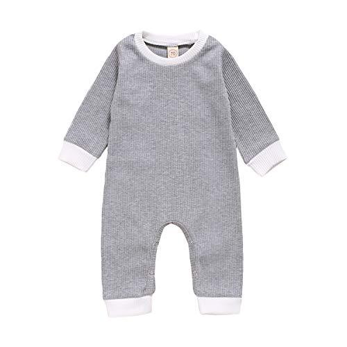 FURONGWANG6777BB Recién Nacido bebé Mameluco de Manga Larga Rayada sólido sólido Mono Juego niños Juguete Infantil niños Disfraces Ropa Ropa (Color : Gray, Kid Size : 18M)