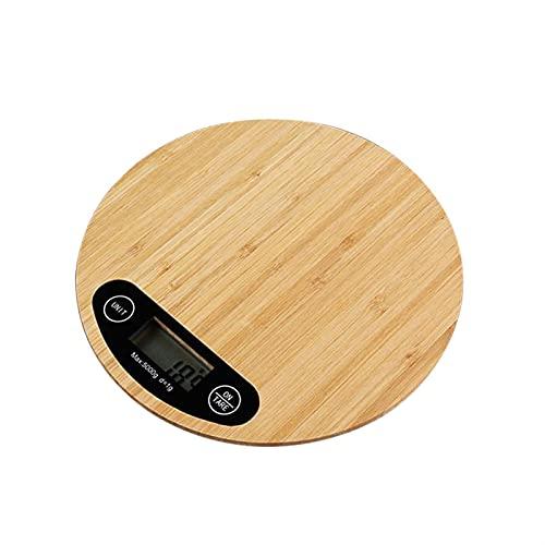 JSJJAUJ Corporal Báscula 5kg / 1g Redondo Bambú LED Pantalla electrónica Cocina para Hornear Escala de Hornear grama portátil Escala de Peso (Color : 5kg-1g)