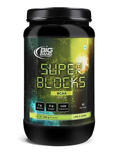 BIG BANG NUTRITION SUPER BLOCKS BCAA 2:1:1  Energy drink for Workout   7 G BCAA with L- Leucine  450 Gram (Lime&Lemon) (30 Servings)