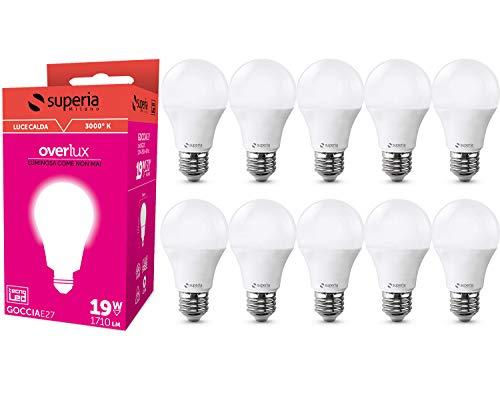 Superia Lampadina LED E27 Goccia, 19W (Equivalenti 130W), Luce Calda 3000K, 1710 lumen, *NUOVA PRODUZIONE*GARANZIA ITALIANA* SG27C, Pacco da 10