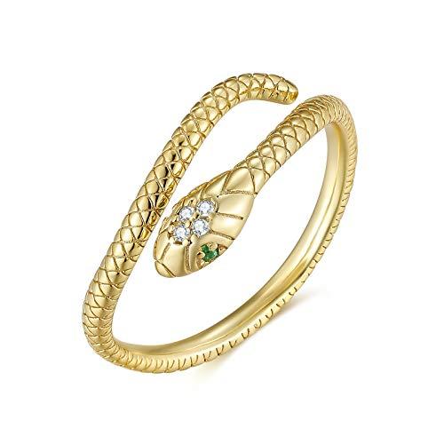 Qings Anillo Serpiente Dorado Anillo Ajustable Abiertos Oro Snake Ring Gold Serpiente Joyas para Mujer Hombres