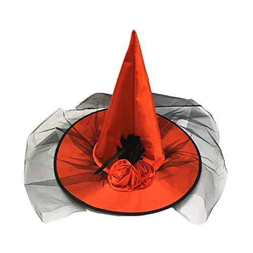 Disfraces 1pcs bruja del partido del traje de Halloween del sombrero acoplamiento de Rose de la decoración de sombrero de la bruja Cospaly Prop para Halloween Partido Colorado