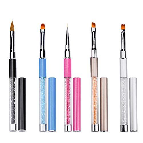 Pennelli unghie, 5 Pezzi Penne Professionali per unghie Costruttore di Gel UV in Acrilico per Nail Pittura Disegno del chiodo DIY