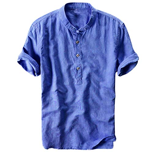 Top for Men Summer Cool Thin Breathable Stand Collar Cotton Linen Tee Shirt Casual Solid Short Sleeve Blouse M-3XL