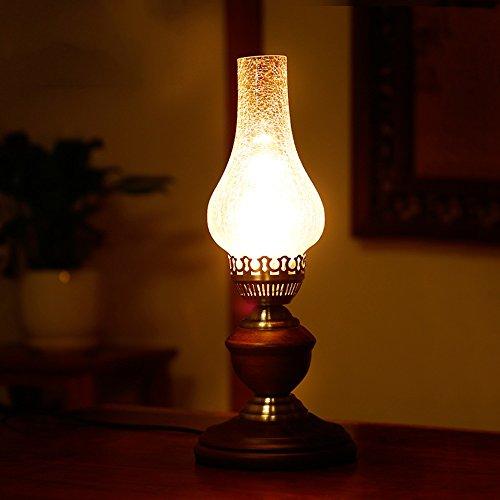 Antieke houten Kerosene lamp glas schaduw E27 studie bureau lamp slaapkamer nachtlampje traditionele olie lamp vorm voor kantoor slaapzaal lantaarn