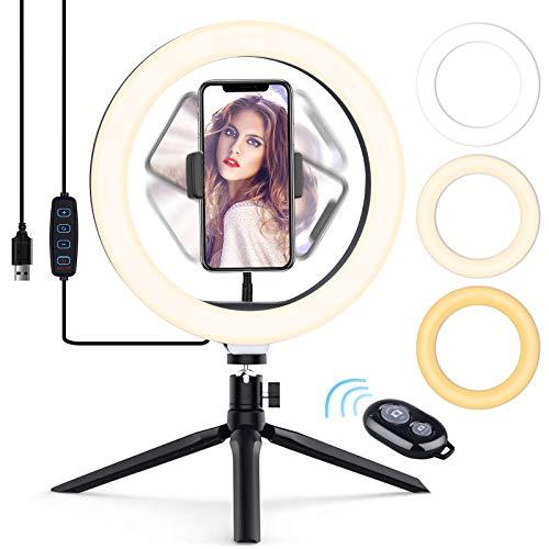 Luce Tik Tok LED Anello Treppiedi,Ring Light con Telecomando Wireless per Smartphone,Foto,Youtube,Trucco,Lampada Anulare Regolabile con 3 Modalita` di Illuminazione e 10 Livelli di Luminosità