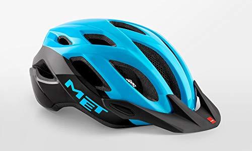 Met Crossover - Casco di Sicurezza per Bicicletta, con LED Integrato, Taglia M, 52-59 cm, Colore: Nero Ciano