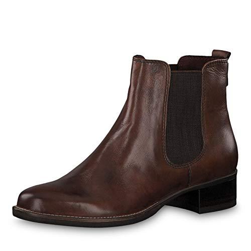 Tamaris Damen Stiefeletten 25399-23, Frauen Chelsea Boots, halbstiefel Stiefelette Bootie Schlupfstiefel flach Damen Frauen Lady,Cognac,42 EU / 8 UK