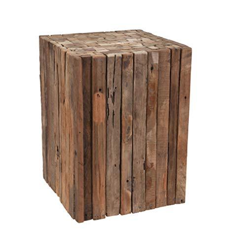 Spetebo Hocker aus Holzlatten - 40x30x30 cm - Holz Blumenhocker Sitzhocker Beistelltisch Deko Pflanzen Hocker