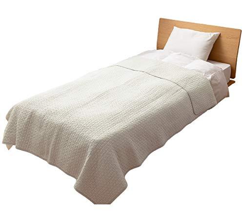 ナイスデイ マルチカバー アイボリー L (200×250cm) mofua (モフア) イブル 綿100% cloud柄 キルティング 洗える 低ホルム 36204308
