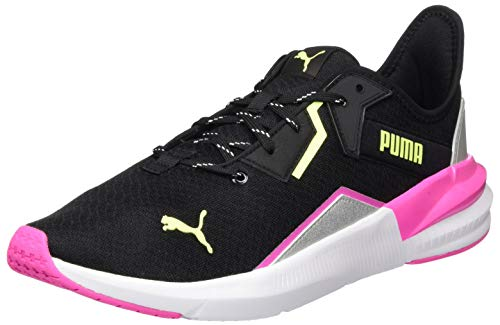 PUMA Damen Platinum Metallic WNS Gymnastikschuh, Black-Luminous Pink-Fizzy Yellow, 39 EU