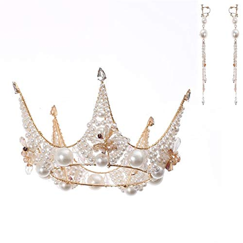 LQXZJ Corona de la reina, joyería del Rhinestone de la perla cristalina tiara de novia de la boda de la princesa muchachas de las mujeres de baile fiesta de cumpleaños hecha a mano del desfile de pelo