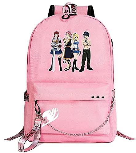 Mochila de dibujos animados con diseño de cola de hadas FT anime cielo estrellado rayo a cuadros, mochila para ordenador portátil, bolsa de colegio