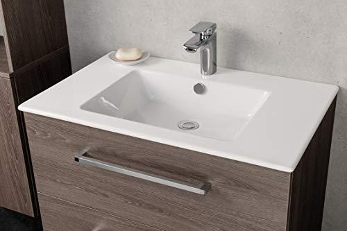 FACKELMANN Waschbecken KERA 810 / Waschtisch aus Keramik/Maße (B x H x T): ca. 81 x 16,5 x 51 cm/Einbauwaschbecken/hochwertiges Becken fürs Badezimmer und WC/Farbe: Weiß/Breite: 81 cm