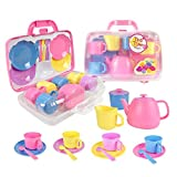 Vinsani Childrens Kids 15 Piece Pink Portable Plastic Tea Set Includes Carry Case for Age 3 and Over