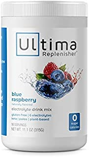 Ultima Replenisher Electrolyte Hydration Drink Mix, Blue Raspberry Flavor 90 Serving Canister - Sugar Free, 0 Calories, 0 ...