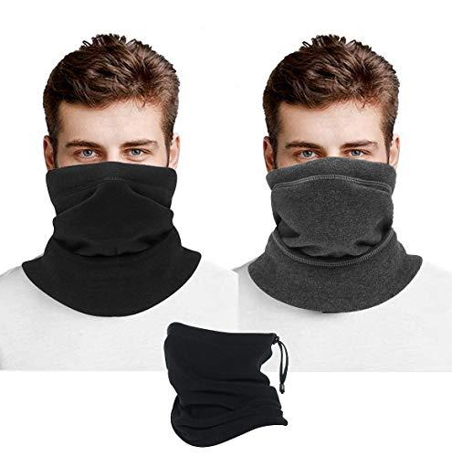 Face Coverings 2 Unidades, Multifuncional, pañuelo de Forro Polar Grueso para el Cuello de Invierno, para Hombre, Negro y Gris a Prueba de Viento térmico para Motocicleta, pasamontañas para esquí