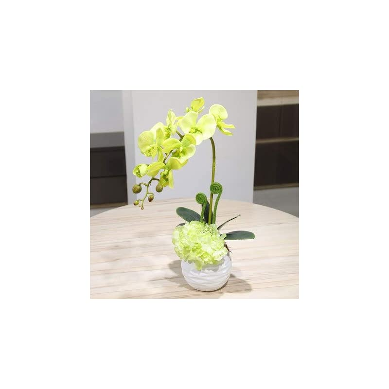 silk flower arrangements artificial and dried flower touch butterfly orchid potted set artificial hydrangea silk flowers hyacinth artificial small bonsai home decoration - ( color: white vase 1set )