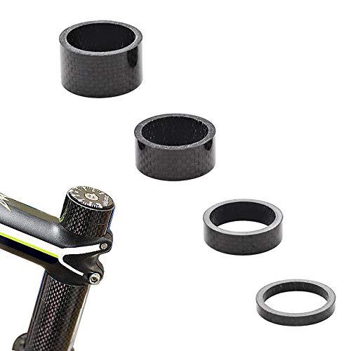 """CCUCKY 4 Stück Karbon Distanzscheiben, Full Carbon Bike Headset Spacer für 1 1/8""""Bike Mountainbikes Rennräder 4 Größen 5/10/15/20 mm"""
