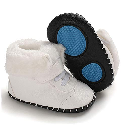 Methee Infant Baby Boys Girls Snow Boots Fur Lined Warm Winter Shoes, White 6-12 Months Infant