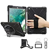 iPad 5th 6th Generation Cases with Screen Protector, TSQ Heavy Duty Shockproof Rugged Protective Case with Hand Strap/Stand/Shoulder Strap,iPad 9.7 2017 2018 Case Cover A1822/ A1823/ A1893/A1954 Black