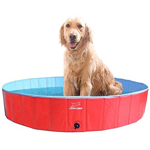 EXPAWLORER Foldable Dog Swimming Pool – Portable PVC Pet Bathing Tub for Dog Outdoor Yard, Dog Whelping Box