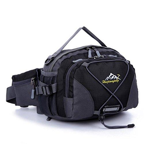 Han Shi- Sports Bag, Waterproof Running Belt Bum Waist Pouch Fanny Pack Camping Sport Hiking Shoulder Bag (Black)