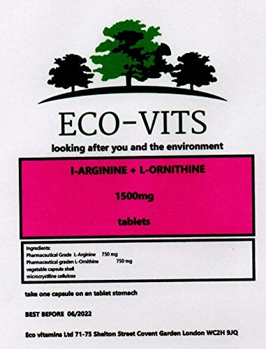 ECO-VITS L-ARGININE & L-ORNITHINE (1500MG) 240 TABS. Biodegradable Packaging. Sealed Pouch