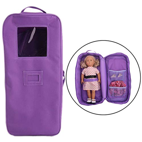 Doll Carrier Bag for 18 Inch American Girl Dolls and Clothes Accessories,Storage Suitcase Handbag for Our Generation Doll and Daily Costumes Outfit (Purple)