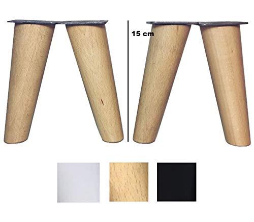 patas para muebles de madera. Patas inclinadas c�nicas con placa de montaje ya instalada patas de madera para sofas mesitas armarios 15 cm alto