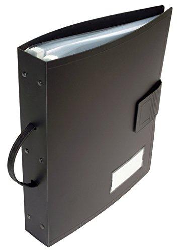 Viquel Géode Meteor Jumbo Reliure Porte documents grande capacité 120 vues - 60 pochettes enlevables repositionnables en polypropylène avec poignée de transport et fermeture velcro - Noir