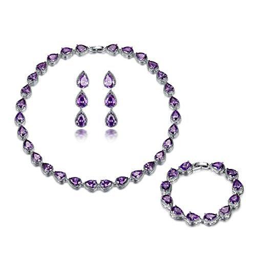 Conjunto de joyas de Gulicx, tono plata, collar, pulsera y pendientes de amatista y circonita en color morado, piedras con forma de lágrima