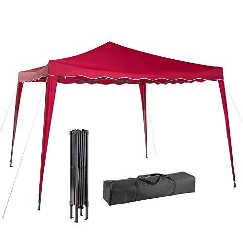 Arebos 3x3 Pavillon, Faltpavillon, Partyzelt, Festival - UV-Schutz - inkl. Heringe und Transporttasche - Anthrazit, Rot, Grün, Blau (Rot)