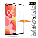 BESTCASESKIN [2-Pack Protector Pantalla Huawei Nova 7 SE, Cristal Vidrio Templado de 3D [Cobertura Completa] HD Sin Burbujas, Alta Definicion, 9H Dureza [Garantía de por Vida], Negro