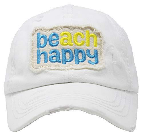 BH-203-BH09 Distressed Patch Baseball Cap - Beach Happy - White
