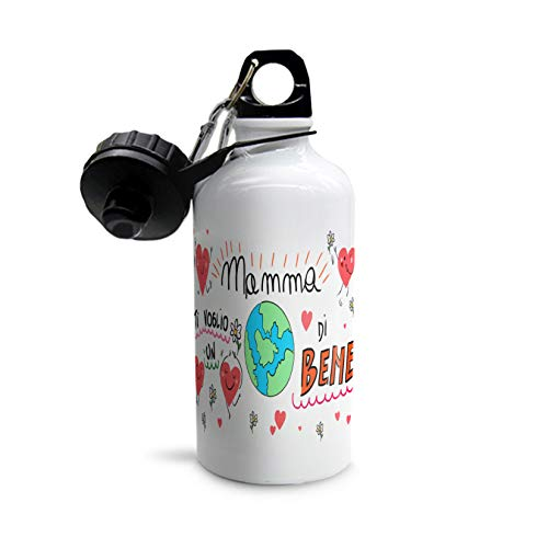 Botella de agua para el día de la madre, botella de agua para el día de la madre, botella de aluminio blanca con doble tapón