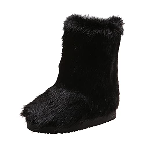 YWLINK Botas De Nieve Mujer Antideslizante Botas Mujer Con CuñA CóModos MáS Terciopelo Botines De Felpa De Zapatos Invierno Mujer Botas De Nieve Botas Botas TacóNes Fondo Grueso (Negro, 36)