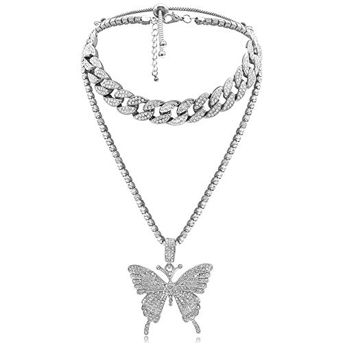 LuckyHouse Butterfly Cuban Link Necklace Women Hip Hop Crystal Choker Necklace Chain with Silver Bling Bling Rhinestone Big Butterfly Pendant Necklace Jewelry Gifts