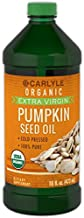 Carlyle Pumpkin Seed Oil 16oz Organic Cold Pressed | 100% Pure, Extra Virgin | Vegetarian, Non-GMO, Gluten Free | Safe for Cooking | Great for Hair and Face