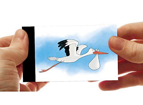 LCDG La Cicogna e Il Bambino: Il Flipbook - Annuncio di Nascita Personalizzabile - Ideale Anche Come Piccolo Libro per Bambini - Flip Book Pocket Cinema - Stork Delivery
