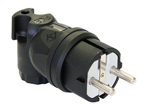 Gummi-Winkelstecker Schuko 16A IP44 schwarz