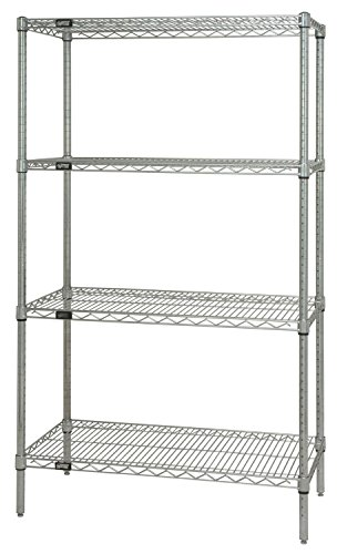 Quantum Storage Systems WR86-1830C Starter Kit for 86 High 4-Tier Wire Shelving Unit Chrome Finish 18 Width x 30 Length x 86 Height