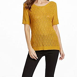 LICHONGGUI Summer Hollow Hooded Short-Sleeved Sweater T-Shirt, Size: L(Yellow) 2020 Fashion Tops (Color : Yellow)