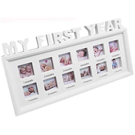 """Cornice portafoto creativa fai da te modello /""""My first year/"""" 12 mesi regalo per ricordare la crescita dei bambini rosa con finestre Siwetg in plastica"""